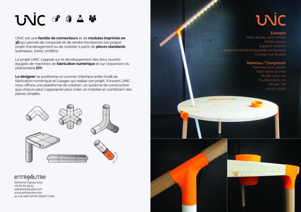 Mobilier UNIC dessiné par Entreautre avec des connecteur en impression 3D
