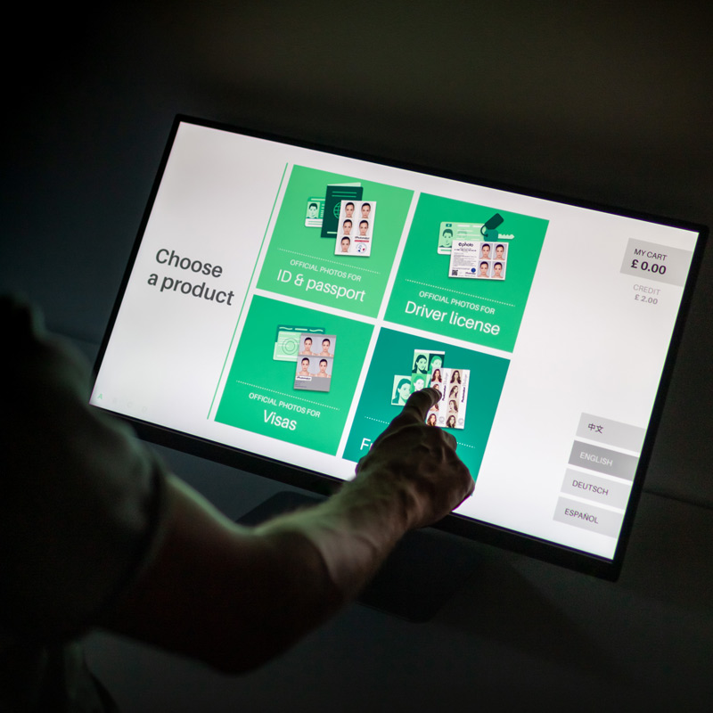 Interface photo cabine UI UX lors d'un test utilisateur