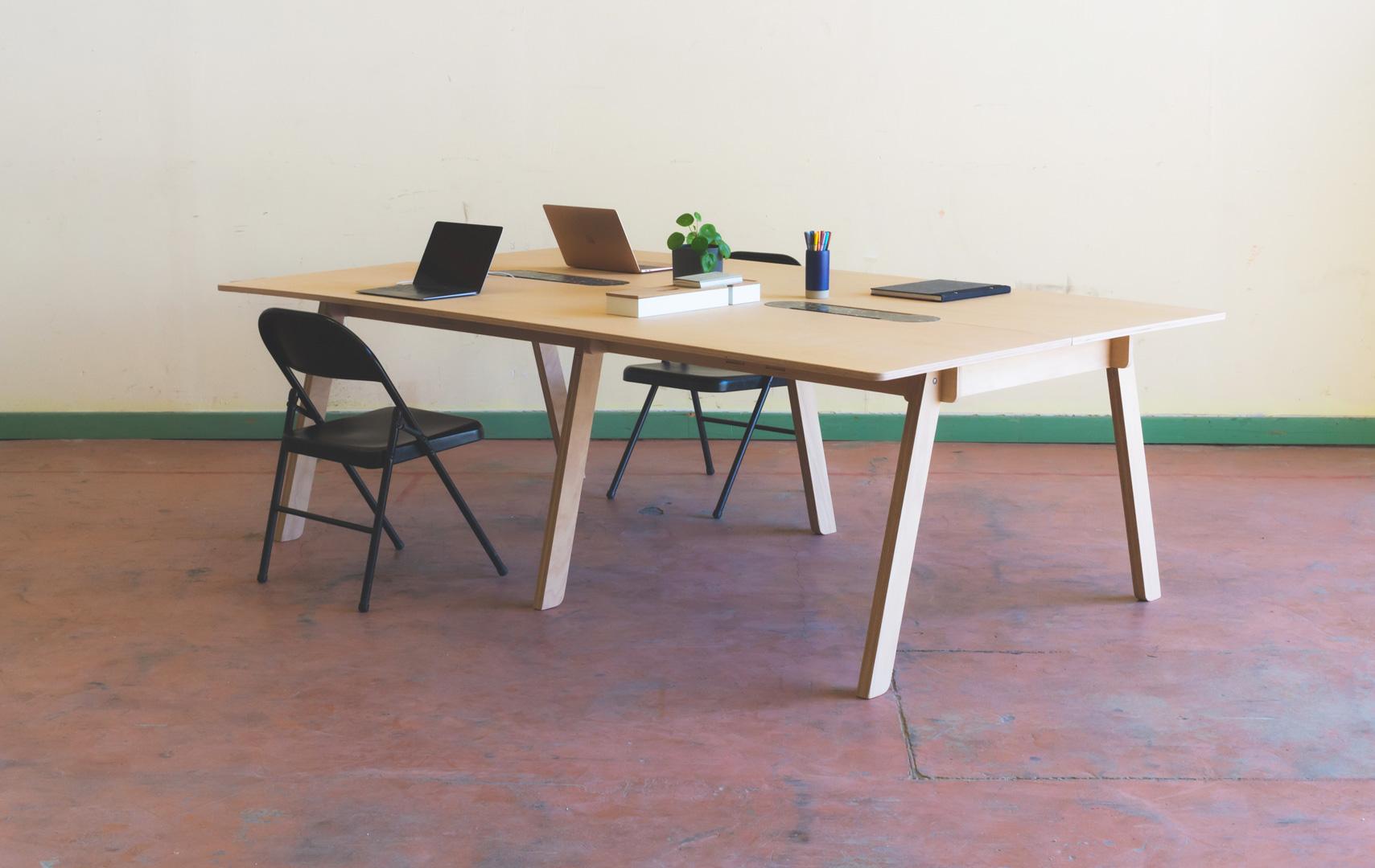 Table de réunion valoriser des déchets - réemploi - design produit agence entreautre drôme