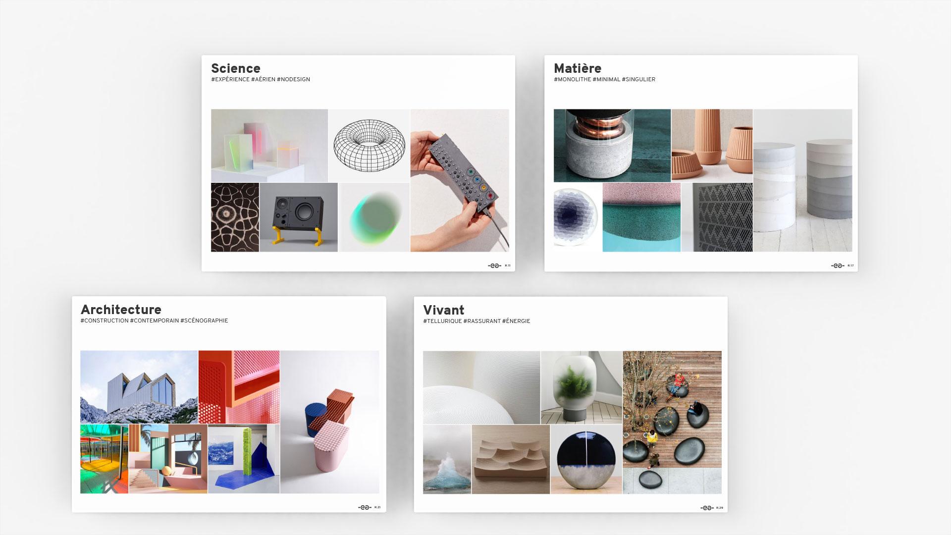 Moodboard - Cahier de tendance - Science - Matière - Architecture - Vivant